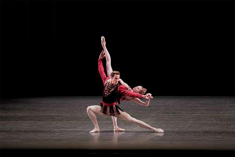 two dancers performing in rubies