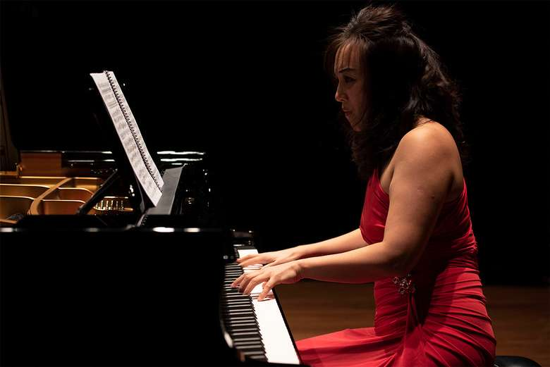 a pianist performing