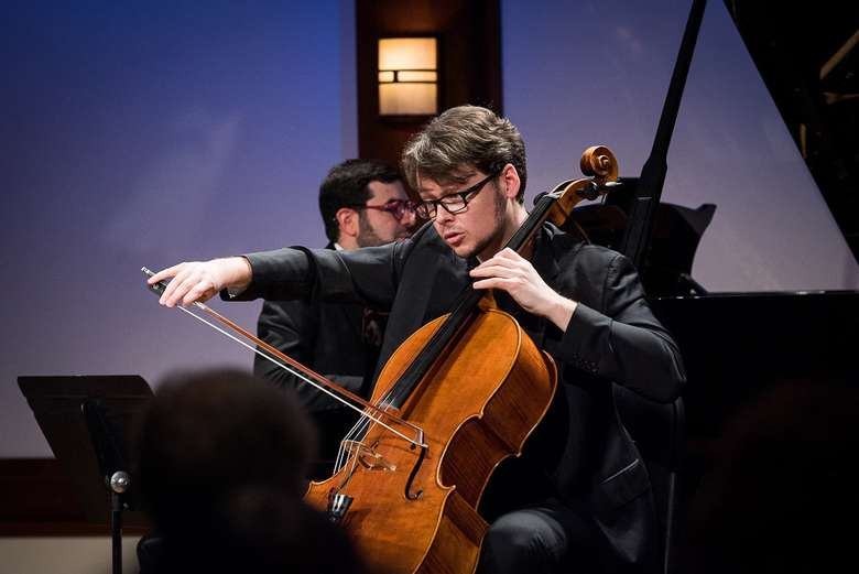 cellist performing