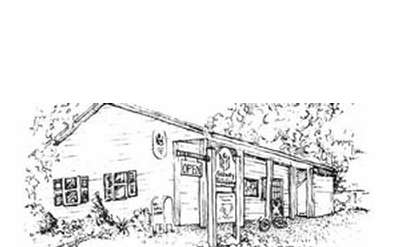 Drawing of the former library building.