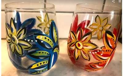 Bandana Stemless Wine Glasses - Design by Jennifer Claire Hockford