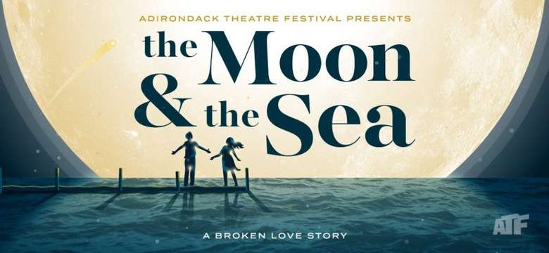 a man and a woman standing on a dock looking up at the moon with text that says the moon & the sea