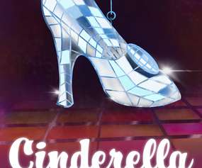 glass disco slipper with text that says cinderella goes disco