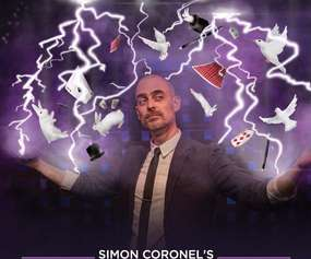 magician with text that says simon coronel's magic smackdown
