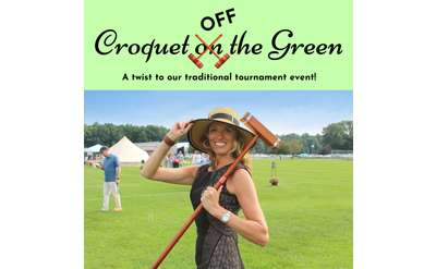 Croquet OFF the Green a twist to our traditional tournament event image with a woman with a hat and croquet mallet over shoulder