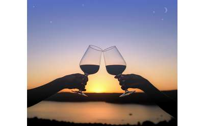 Silhouette of two wine glasses cheersing over a lake at sunset