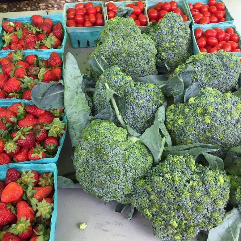 Broccoli and strawberries at the Market
