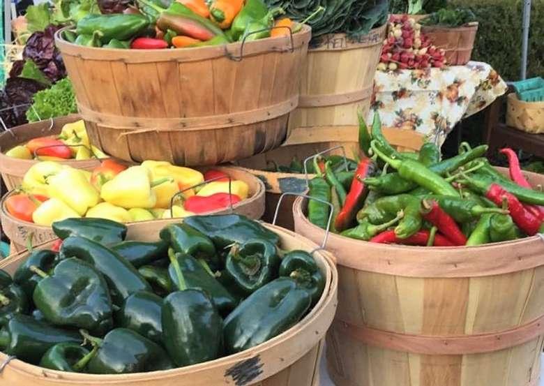 Baskets of vegetables at the Market