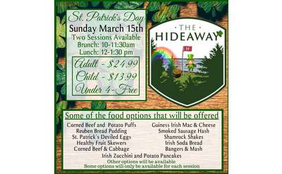 Join us for our St Patrick's Day Brunch at The Hideaway