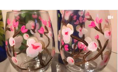 Cherry Blossom Set of Wine Glasses