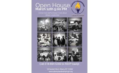 Albany Leadership Open House Flyer March 12th at 5:00 PM.