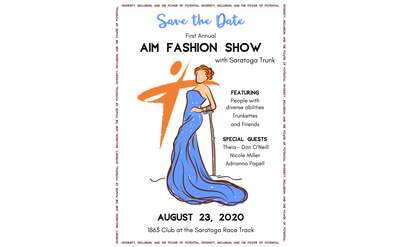 Save the date image of drawing of a woman in a blue dress with an arm cane