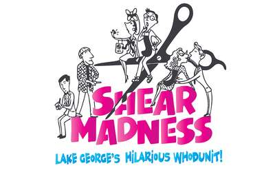 illustration of six people centered around a pair of hair cutting scissors with text that says shear madness lake george's hilarious whodunit!