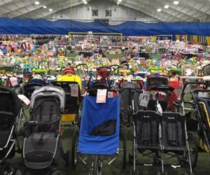 products on display at indoor consignment sale