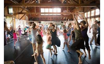 Intergenerational class dancing at Jacob's Pillow dance studio
