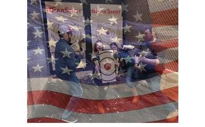 American Flag over Axe Throwing