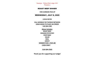 Roast Beef dinner flyer