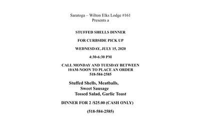 Stuffed shells dinner flyer