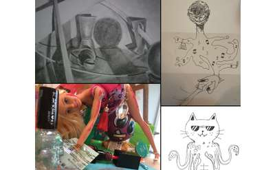 sketches and things to sketch from, like a sideways doll