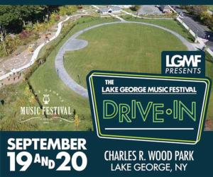 aerial view of festival commons with text advertising the drive-in series