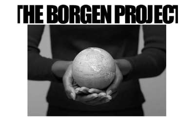 image of a woman holding a globe with text that says the borgen project