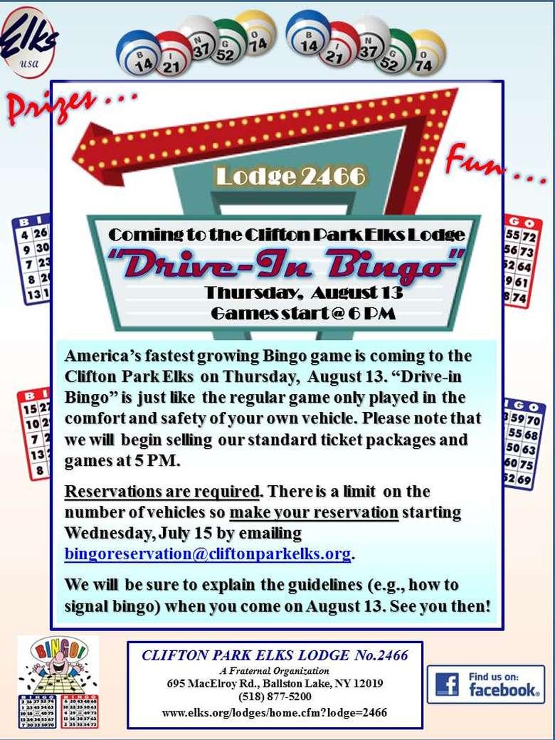 Elks Drive-in Bingo Flyer