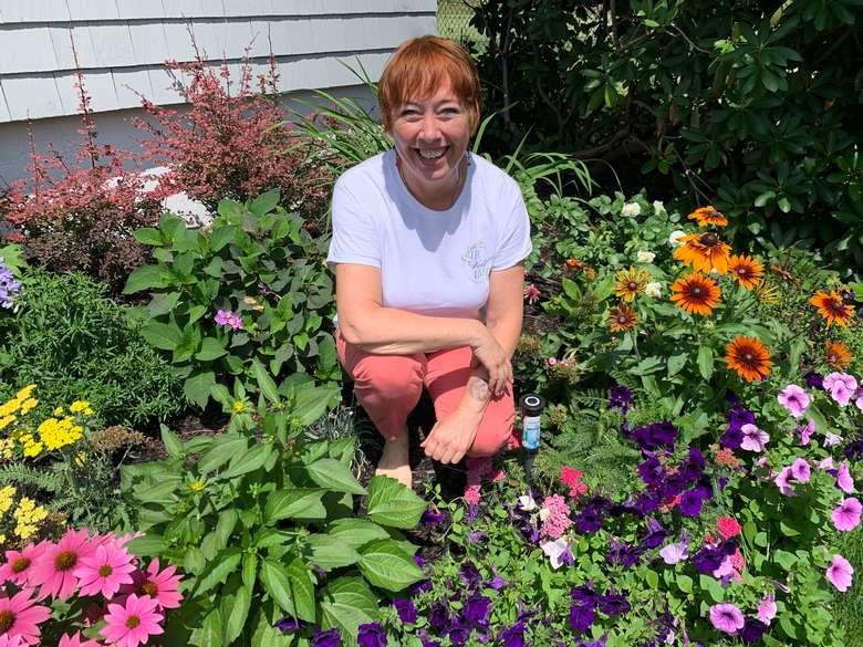 Resident Herbalist Margo Mullein in the garden