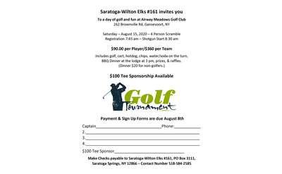 Saratoga-Wilton Elks Golf outing flyer