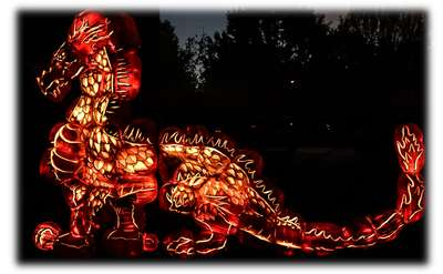 dragon made out of pumpkins