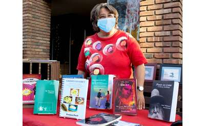 author with face mask