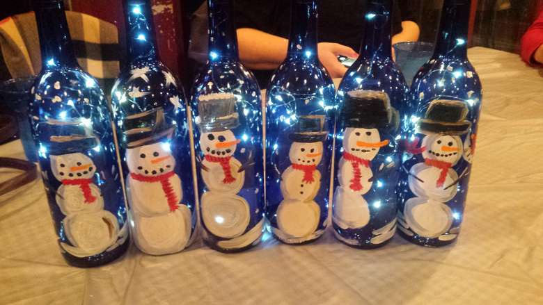 Snowmen Wine Bottle by Jennifer Claire