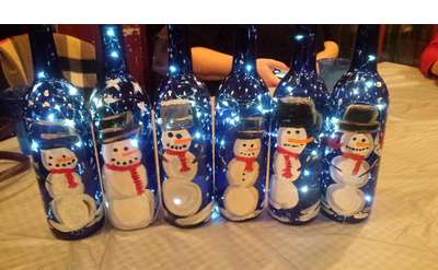 Snowmen Wine Bottle