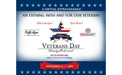 AUCTION and LIVE STREAM: An Evening with and for our Veterans, hosted by the Veterans & Community Housing Coalition in place of their annual Veterans Ball fundraiser. The program will be streamed live from Caffe Lena.