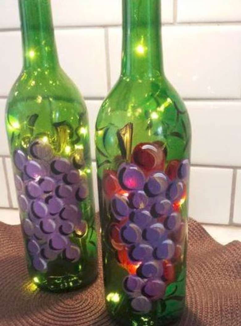 Classic Grapes Painted Wine Bottle - Design by Jennifer Claire