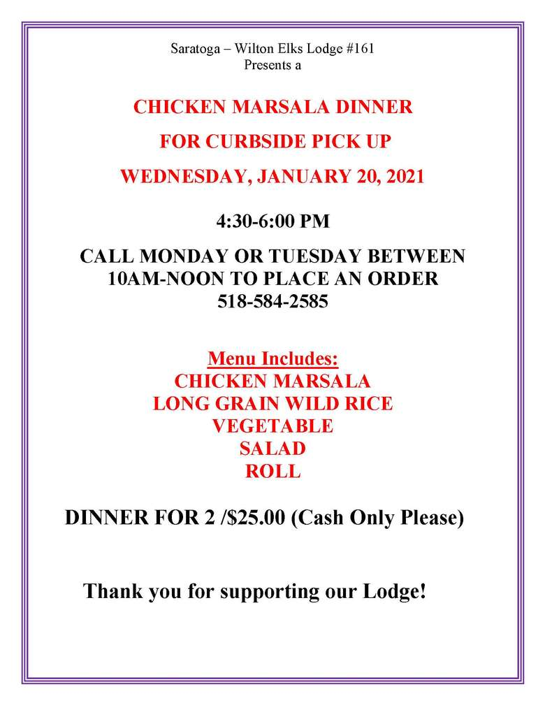 Chicken Marsala Dinner Flyer