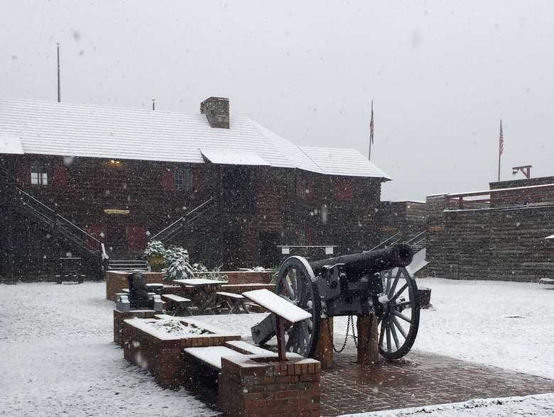 cannon in winter