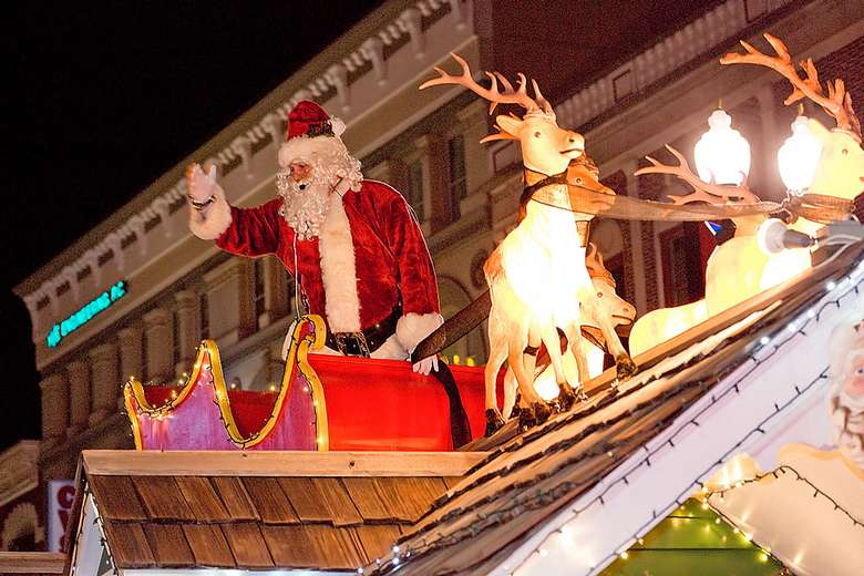 Santa float with reindeer
