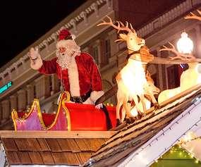 Santa float with reindeer