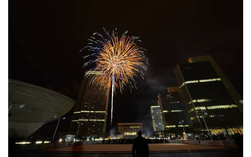fireworks over empire state plaza