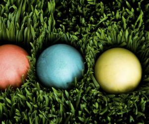 three colored Easter eggs in grass