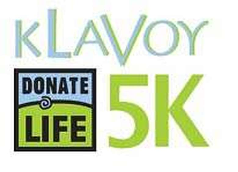 logo for the klavoy 5k for donate life