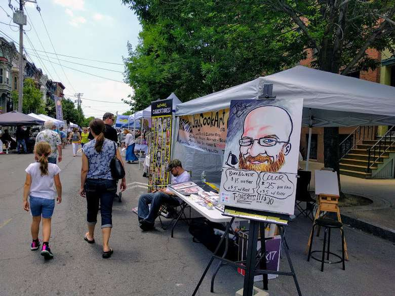 a caricature booth