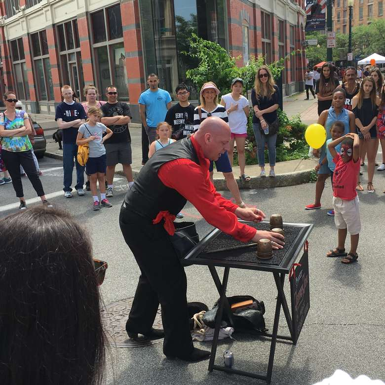 man doing a demonstration for crowd