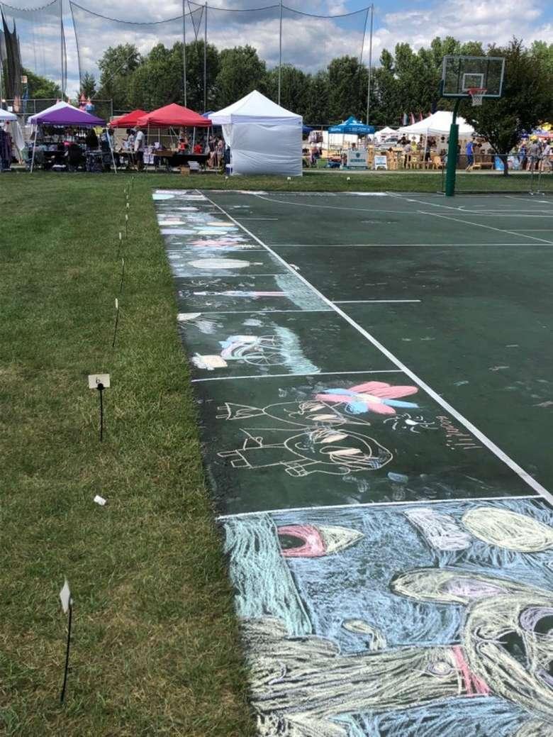 sidewalk with chalk