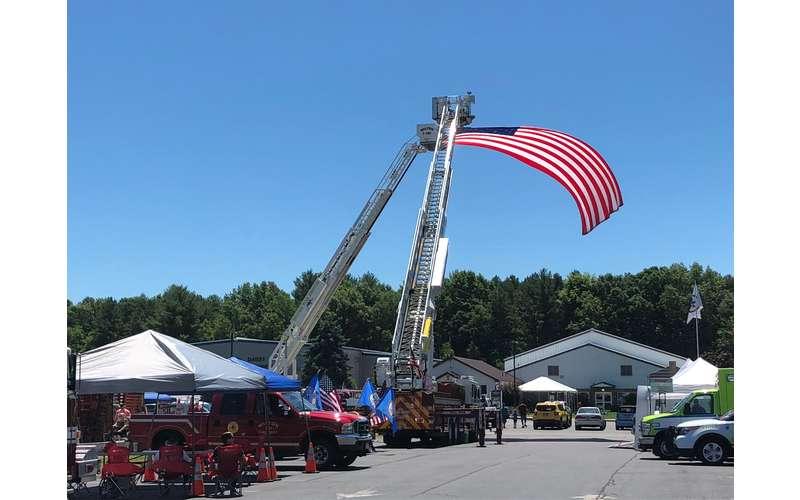 american flag in air