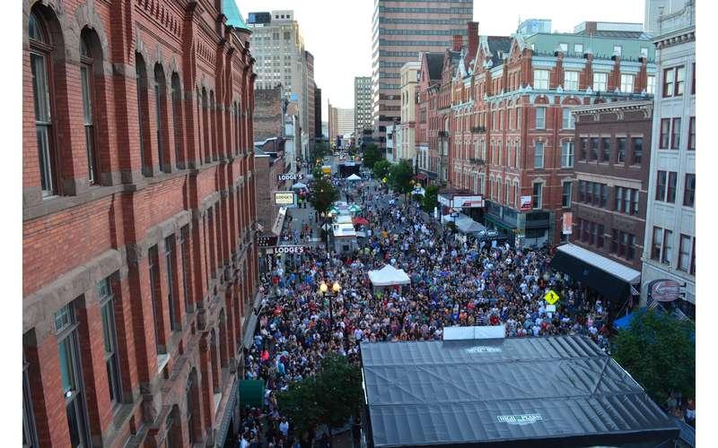 large festival crowd on street