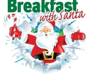 "santa, candy cane, and words that say ""breakfast with santa"""