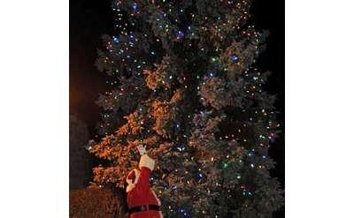 Santa in front of a huge lit tree