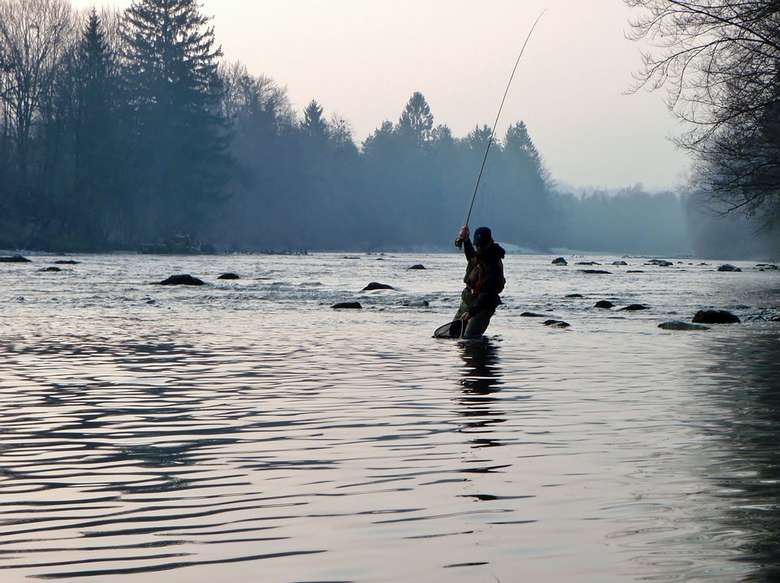 a fly fisherman in a river