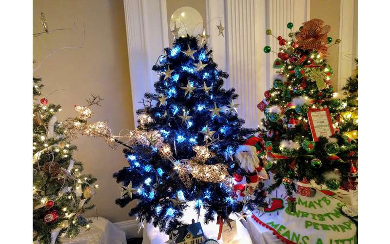 Christmas tree with blue lights